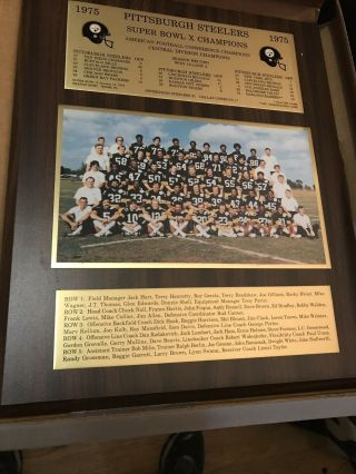 1975 Pittsburgh Steelers Bowl X Champ Plaque Team Photo And Season Record