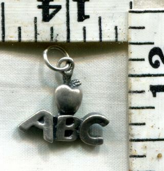 Vintage Sterling Bracelet Charm School Charm A B C With Apple For Teacher $8.  99