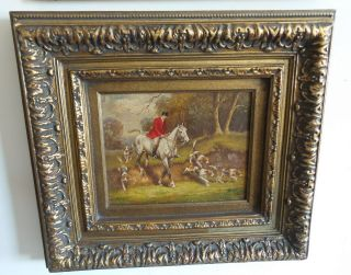 Vintage Oil Painting Framed And Signed Hunting Scene