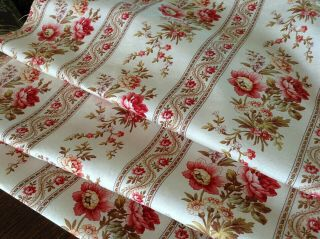 Lovely Antique French Floral Printed Fabric Cotton Upholstery 19th Century