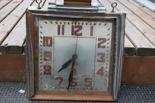 Rare Antique Hammond Clock Reverse Painted Glass Art Deco Wood Chrome Sign - S41