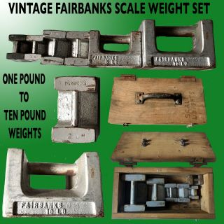 Vintage Fairbanks Scale Weight 6 Piece Set 0ne Pound To Ten Pounds In Wood Case