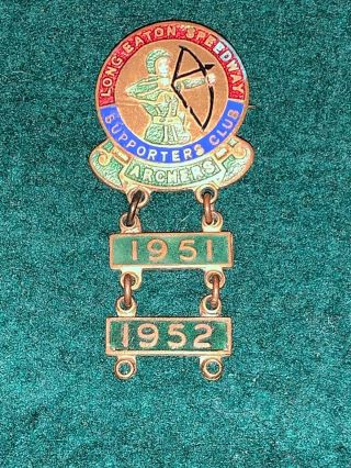 Vintage Long Eaton Speedway Supporters Club Enamel Badge Archers 1951 1952 Old