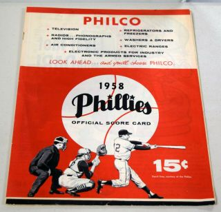 Vintage 1958 Phillies Official Score Card Booklet - Scored Vs.  Braves Bc1230