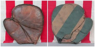 Vintage Antique Baseball Glove Leather/canvas Mitt Youth Sz Turn Of The Century