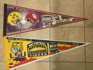 2 Vintage Lsu Tigers National Championship Pennant Orleans 03/07