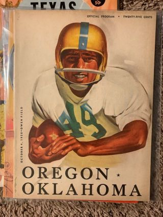 1958 Oklahoma Sooners Oregon Ducks Football Program Norman Vintage Ou Rare