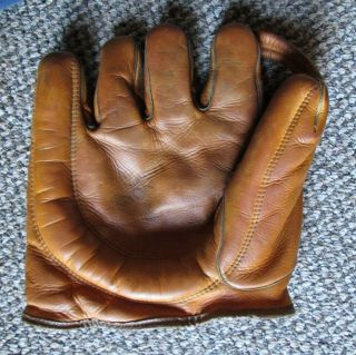 Vintage Baseball Split Finger Softball Glove Full Pinky Crescent To Thumb N.