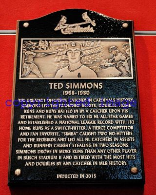 Ted Simmons 1968 - 80 Cardinals Busch Stadium Hof Plaque Color 8x10 A