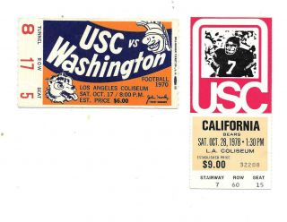 Univ Of Southern California College Home Football Ticket - Oct 17th,  1970 Vs Wash