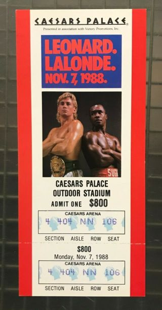 Sugar Ray Leonard Vs Donny Lalonde 1988 Caesars Palace Boxing Match Full Ticket
