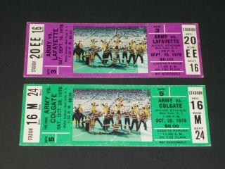 1978 Army/lafayette And Army/colgate Full Football Tickets - - Rare