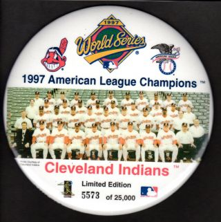 1997 Al Champions Pin Back Button Cleveland Indians 6 ""