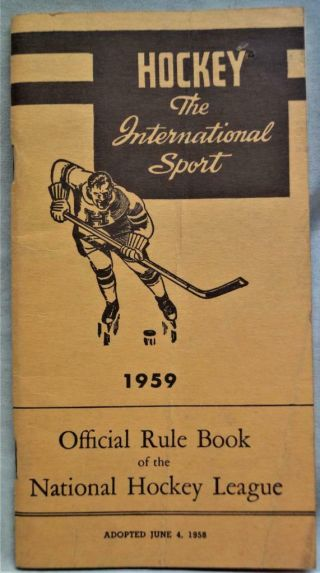 Nhl National Hockey League Official Rule Book 1959 Vintage Sports
