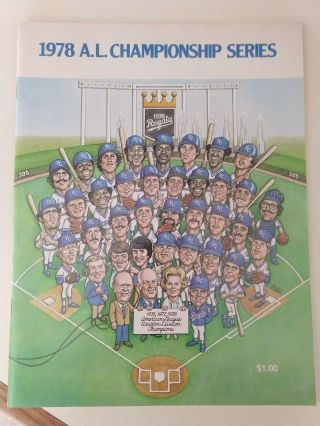 Kansas City Royals 1978 A.  L.  Championship Series Program Unmarked Great Cond