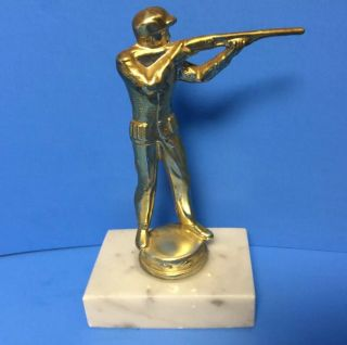 Solid Metal Trap Shooter Shot Gun Gold Tone Trophy Topper Hood Ornament Hunting