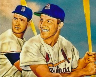 Ted Williams Red Sox And Stan Musial Cardinals 8x10 Print