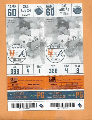 Ny Mets Vs Braves Ticket Stub Aug 24,  2019 Pete Alonso Ties Mets Hr Record @ 41