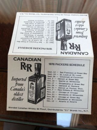 1976 Green Bay Packers Football Pocket Schedule Canadian R & R