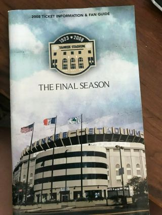 2008 York Yankees Fan Guide Brochure - The Final Season For The Old Stadium