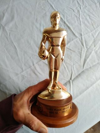 Vintage Art Deco Style Football Trophy 1967 Ford Pp&k