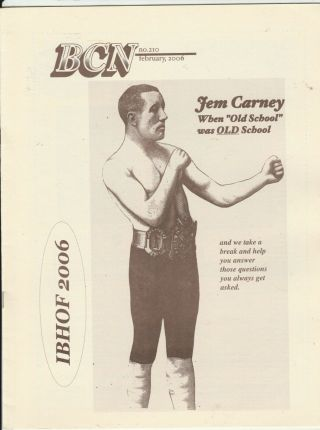 Boxing Collectors News Jem Carney Boxing Hofer Issue 210 February 2006