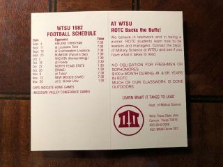 1982 Dallas Cowboys Nfl Football Schedule Rotc West Texas State Univ W Oilers