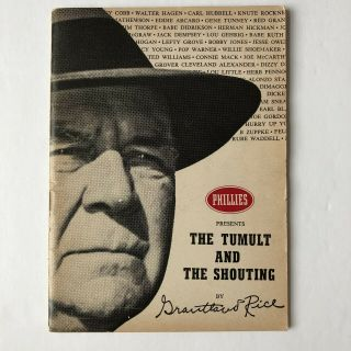"""Grantland Rice """" Tumult & Shouting """" 1954 Booklet """" Phillies Cigars """" Sports Series"""