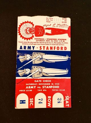 1950 Army Vs Stanford Ticket Stub
