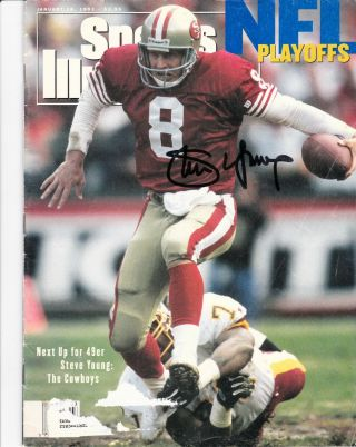 Steve Young Autograph Sports Illustrated January 18,  1993 Issue 49ers