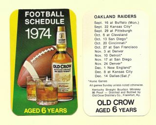 1974 Oakland Raiders Schedule Card - Sponsor Old Crow Bourbon Whiskey