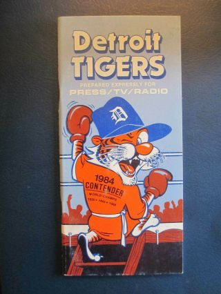 1984 Detroit Tigers World Champions Mlb Press / Tv / Radio Media Guide