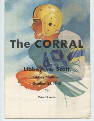 1948 Scott High School Vs Libbey Football Program (toledo,  Ohio)