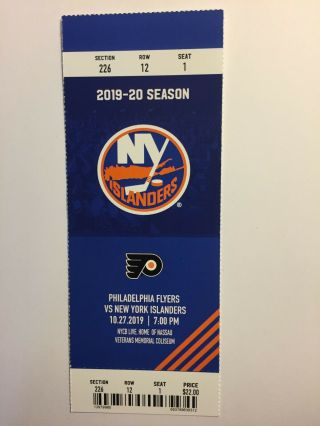 York Islanders Vs Philadelphia Flyers October 27,  2019 Ticket Stub