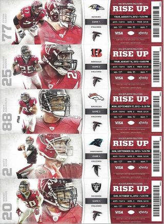 2012 Nfl Atlanta Falcons Full Football Tickets Entire Home Season - 10 Tix