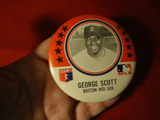 "Mlb 1960 George Scott Boston Red Sox Pinback Button,  3.  5 "" All Star Gold Glover"