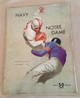 Vintage 1952 Navy Vs Notre Dame Football Game Program,  Cleveland Stadium