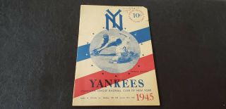 1945 York Yankees Vs Boston Red Sox Game Program