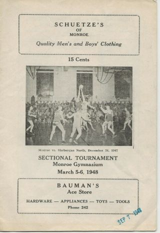 1948 Wisconsin High School Basketball Sectional Tournament Program