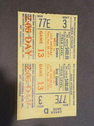Vintage Mets Ticket Box Seats Met Vs Los Angeles