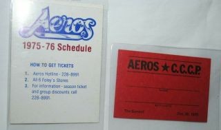 1975 - 76 Wha Houston Aeros Pocket Schedule Plus Credential Card Vs Ussr