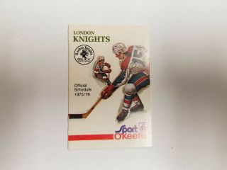 London Knights 1975/76 Minor Hockey Pocket Schedule - Sport O