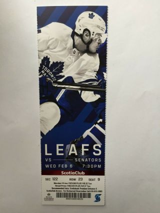 Toronto Maple Leafs Vs Ottawa Senators February 6,  2019 Ticket Stub