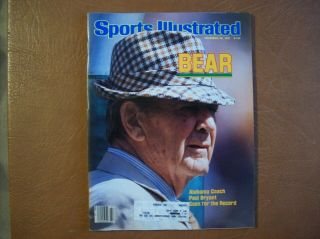 Paul Bear Bryant Alabama Crimson Tide - Sports Illustrated November 23,  1981