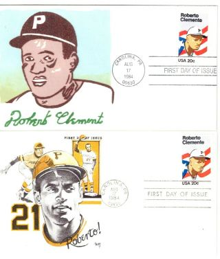 Two 1984 Colorful Roberto Clemente First Day Covers