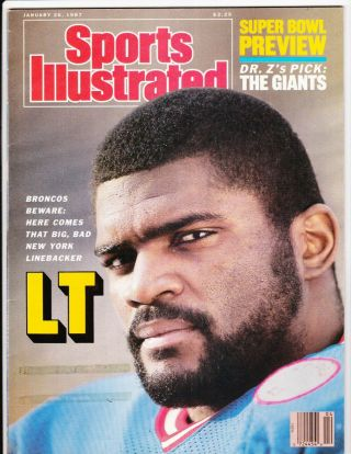 Lawrence Taylor York Giants January 1987 Sports Illustrated No Label