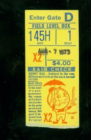 1973 (aug.  7) York Mets V.  St.  Louis Cardinals Baseball Ticket Stub