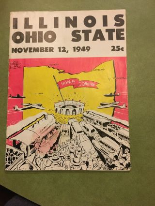 Illinois Ohio State November 12,  1949 Program