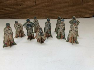 "10 Vintage Paper Cardboard Stand - Up Baseball Figures.  Very Old.  2.  5"" Tall."