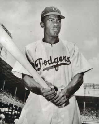 Jackie Robinson 8x10 Photo Brooklyn Dodgers First Black In Majors 6 W.  S 6 A.  S
